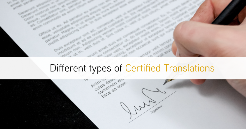 Different types of certified translation